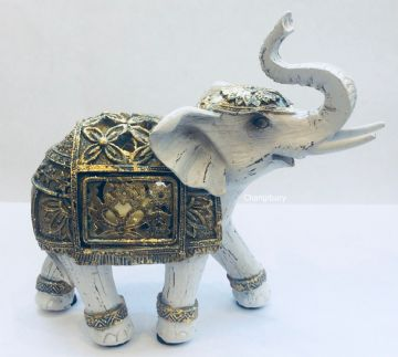 Chic Floral WHITE GOLD Elephant Truck Up LED  Light UP Figurine Ornament 12cm Tall LP41536